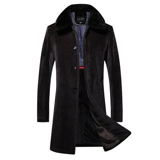 冬季貂毛大衣加厚保暖男士上衣中老年合身型风衣时尚外套男爸爸装