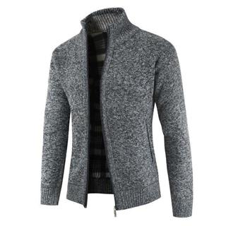 跨境外贸秋冬新款男士立领开衫拉链毛衣长袖针织衫男外套/6色