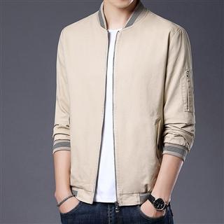 2021春季新款男士纯棉夹克棒球领男装纯色外套春秋款衣服
