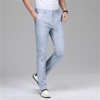 春季中青年男士裤子时尚百搭亚麻薄款直筒休闲长裤