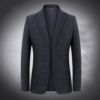 休闲西服男中年春季新款单西韩版修身高档商务格子西装外套