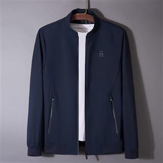 春季新款免烫防皱耐磨中青年男士夹克衫薄外套纯色立领茄克