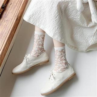 【39.9元/5双】妹少女小花白色玻璃丝袜中筒袜