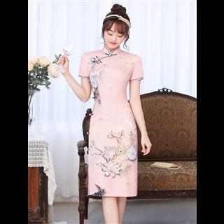 2021年新款年轻款女夏季中国风复古短袖修身旗袍