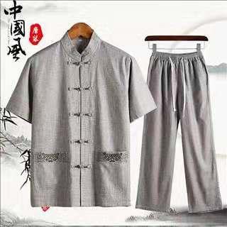 158包邮 亚麻套装中老年人唐装男中国风中年男士爸爸短袖
