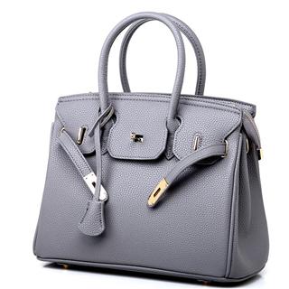 新款女包欧美时尚荔枝纹铂金包斜跨单肩女士手提包