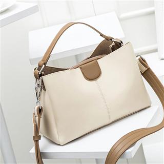 新款潮流女包撞色手提包时尚气质水桶包单肩斜挎包