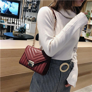 新款韩版潮百搭菱格链条包女包斜跨小方包